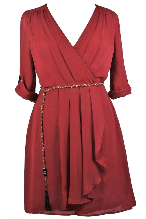Off The Chain Surplice Chiffon Wrap Dress in Burgundy- Plus Size