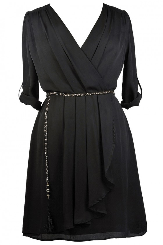 Off The Chain Surplice Chiffon Wrap Dress in Black- Plus Size