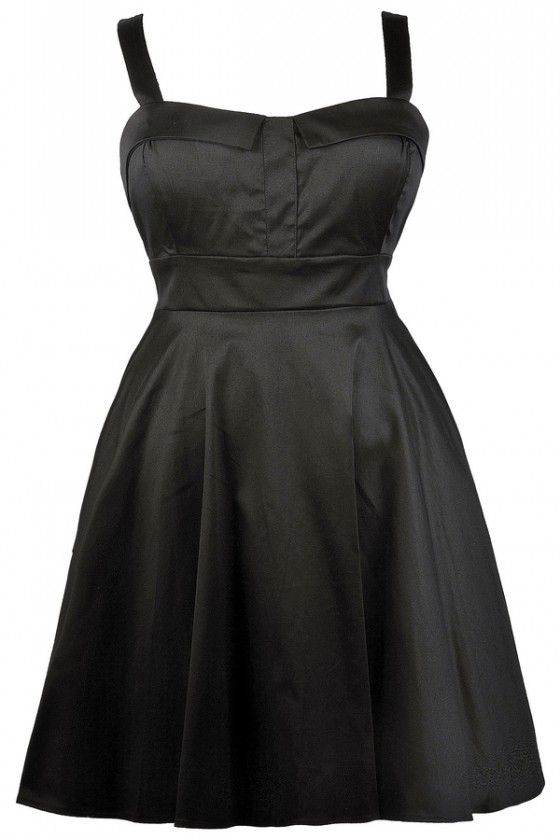 Cheerful Occasion Fit and Flare Dress in Black- Plus Size
