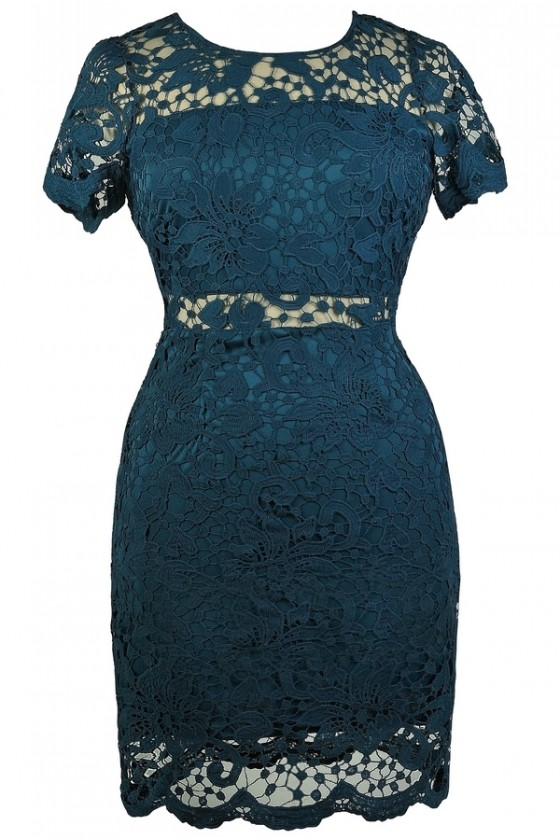 Peekaboo Crochet Lace Sheath Dress in Teal- Plus Size