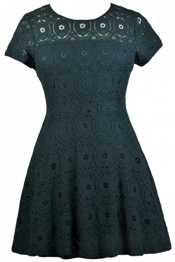 A-Line Up Lace Dress in Emerald Green- Plus Size
