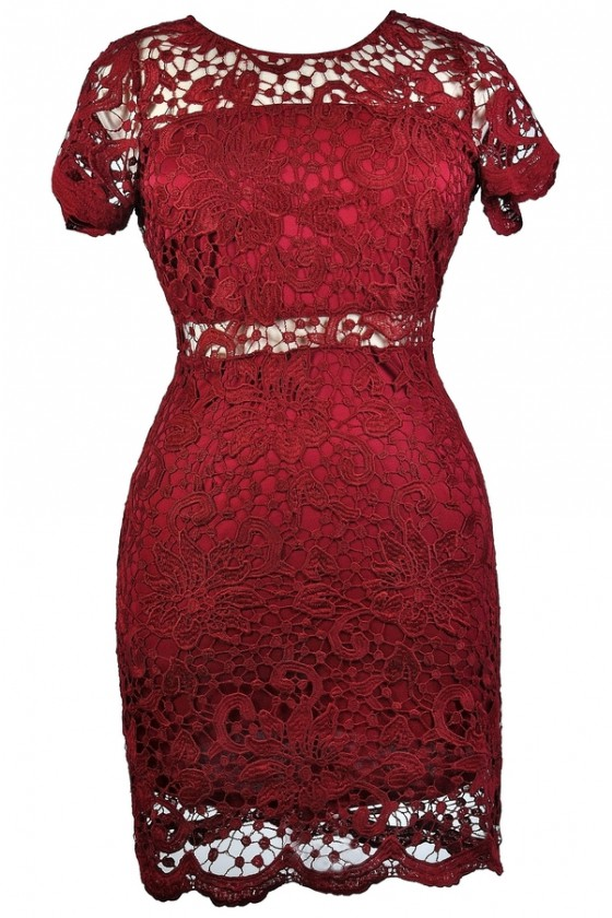 Peekaboo Crochet Lace Sheath Dress in Burgundy- Plus Size