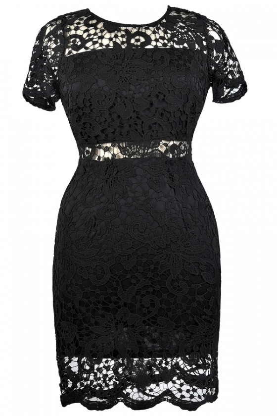 Peekaboo Crochet Lace Sheath Dress in Black- Plus Size