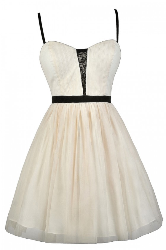 new style c6385 7fffc Ballet Noir Ivory and Black Tulle Party Dress