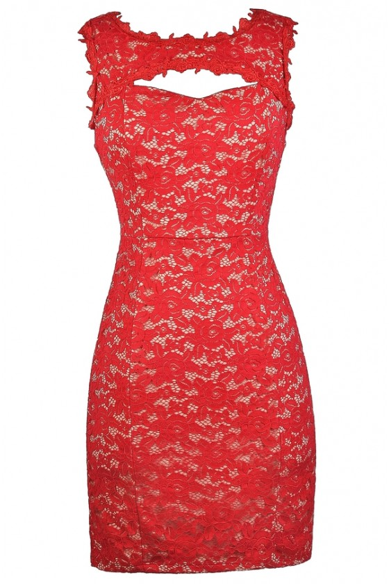 Devin Cutout Red Lace Dress