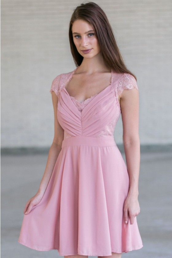 Wedding Date Lace And Chiffon Capsleeve Dress In Dusty Pink