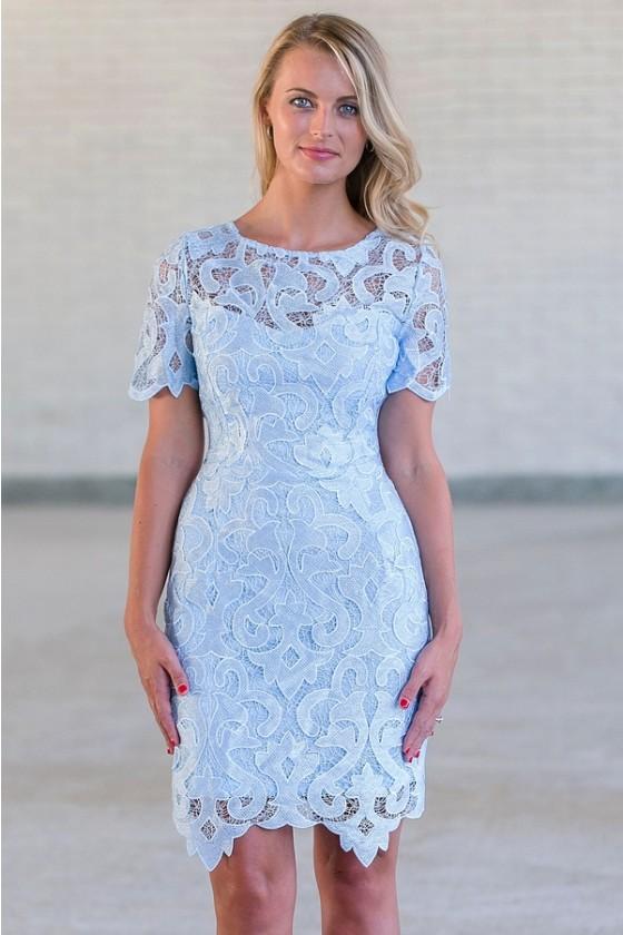 Ice Blue Crochet Lace Overlay Dress