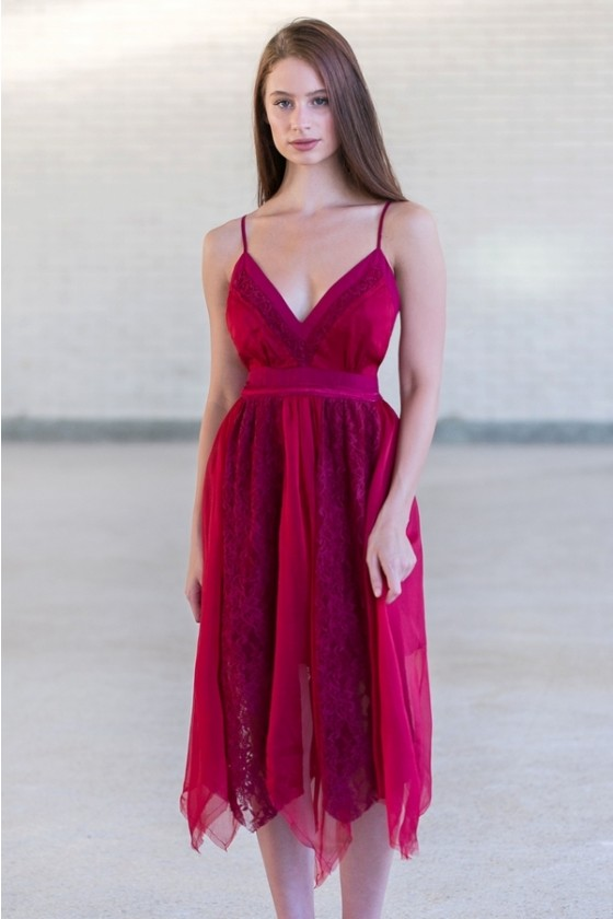 Fairy Flutter Burgundy Lace Asymmetrical Hem Midi Dress