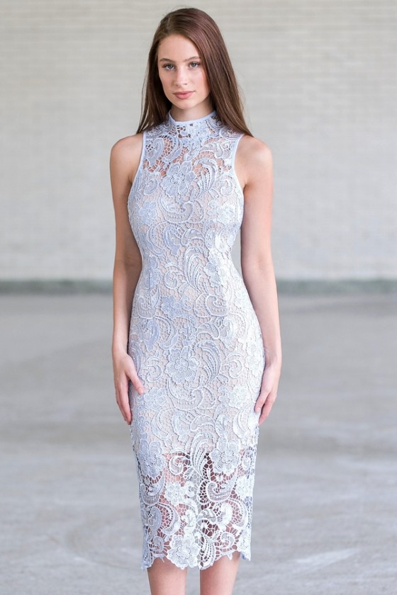 Long And Lean High Neck Lace Pencil Midi Dress In Pale Blue
