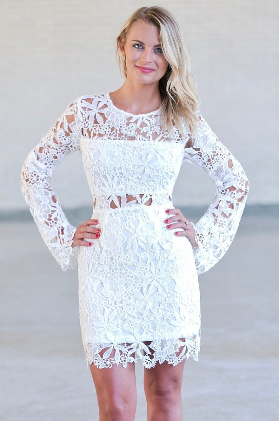 Indie Glam Bell Sleeved Crochet Lace Dress In Off White