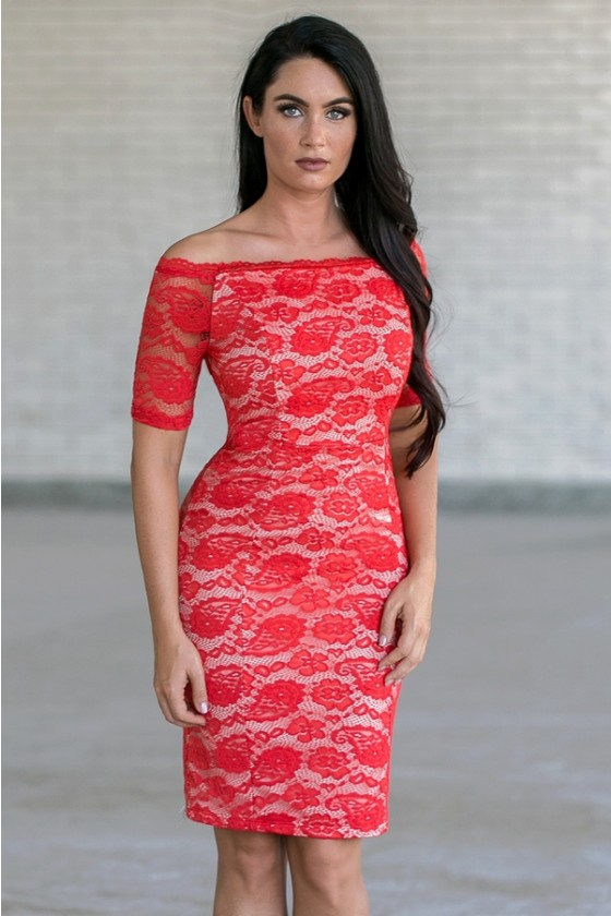 Lace Luxe Fitted Dress In Red Orangebeige
