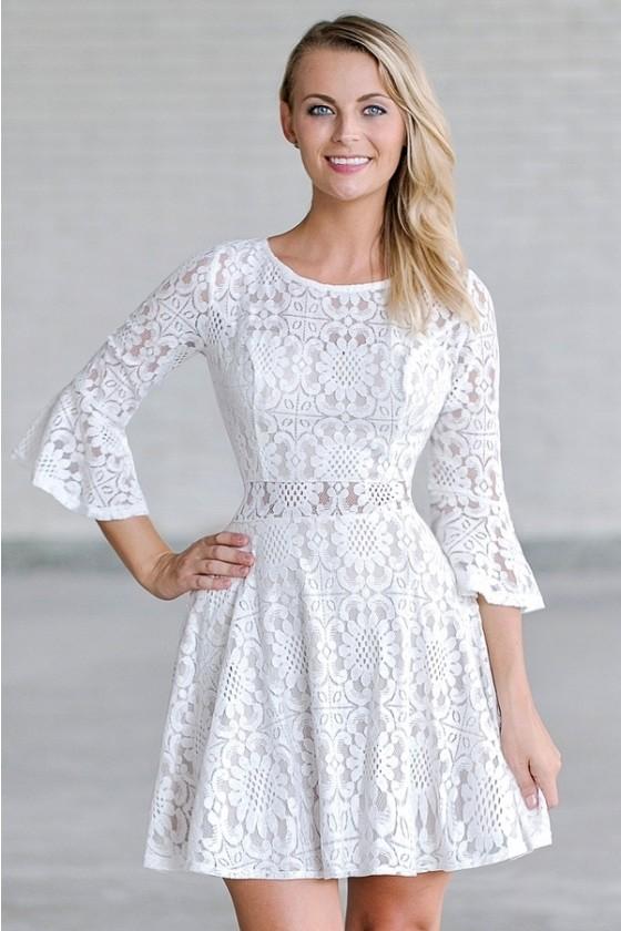 Cloudwalker Ivory And Beige Lace Bell Sleeve Dress