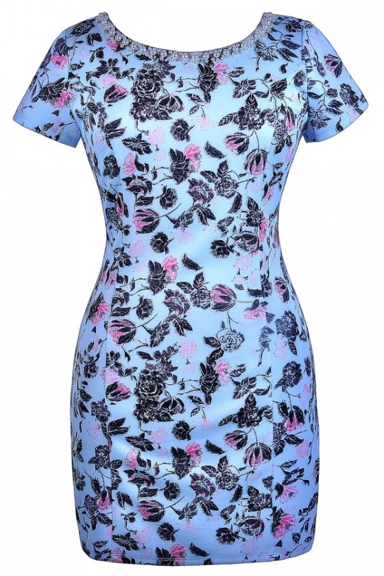 Out Of The Sky Blue Floral Print Embellished Dress- Plus Size