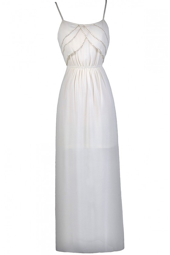 Tier Up Beaded Ruffle Maxi Dress In Cream