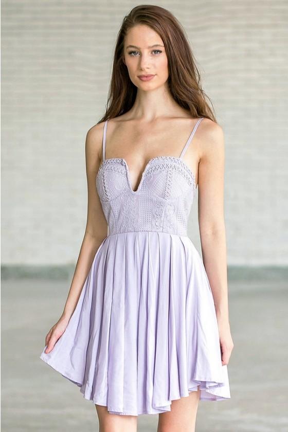 Lavender Fields Lace Romper Dress