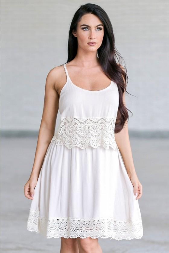 Boho Beauty Crochet Trim Dress In Beige