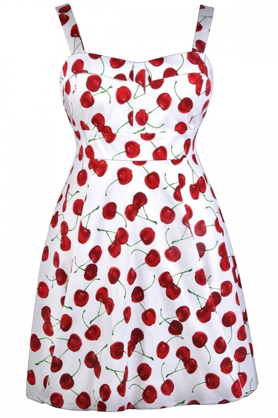 Cheerful Cherry White Printed Fit and Flare Dress- Plus Size