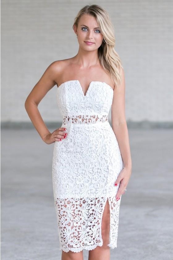 Corinne Strapless Lace Midi Dress In White
