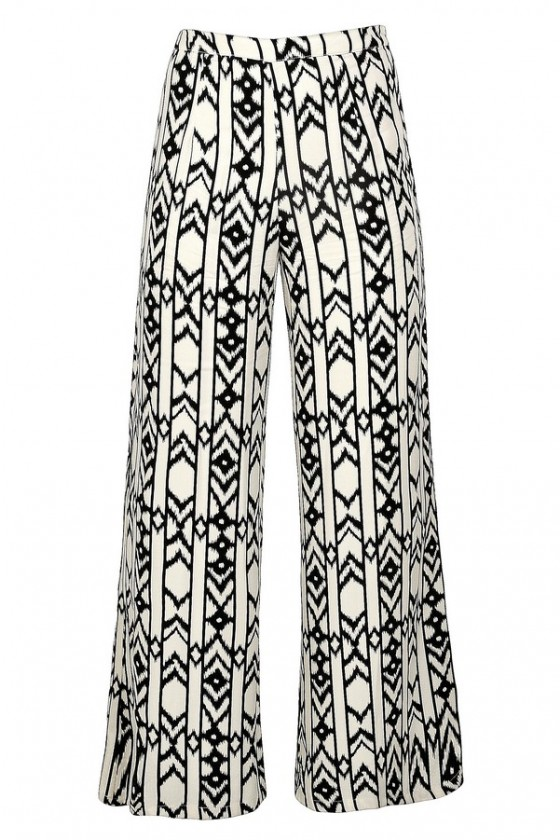 Black And Ivory Print Palazzo Pants Black And Ivory Printed Wide Leg Pants Printed Palazzo Pants Cute Palazzo Pants Geometric Palazzo Pants Black And Cream Palazzo Pants Lily Boutique
