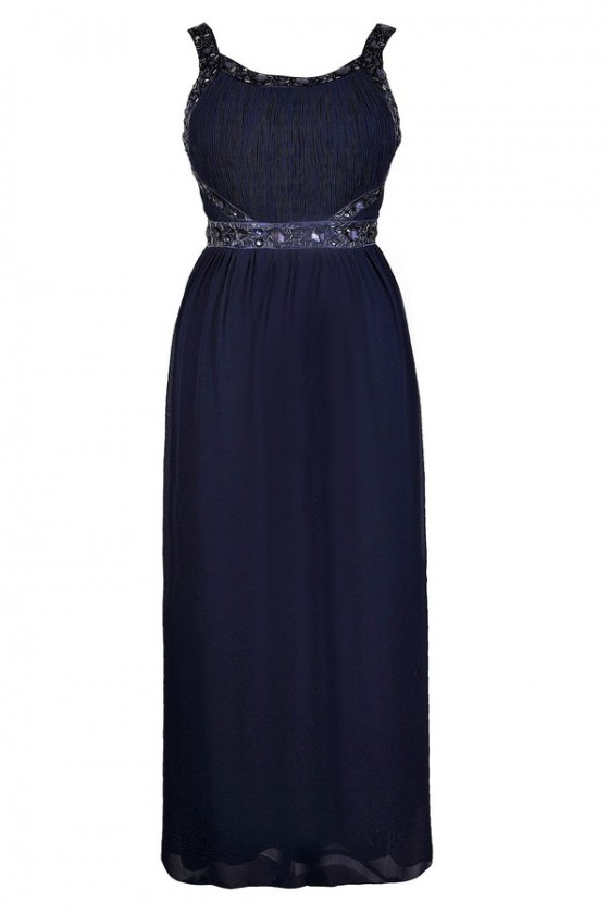 You\'re A Gem Embellished Maxi Dress in Navy - Plus Size