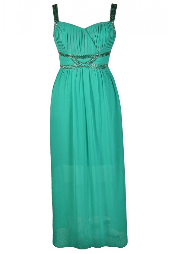 Twinkling Trim Embellished Maxi Dress in Jade- Plus Size