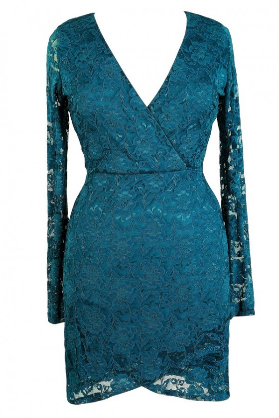 Naughty Or Nice Crossover Hemline Longsleeve Lace Dress in Teal- Plus Size