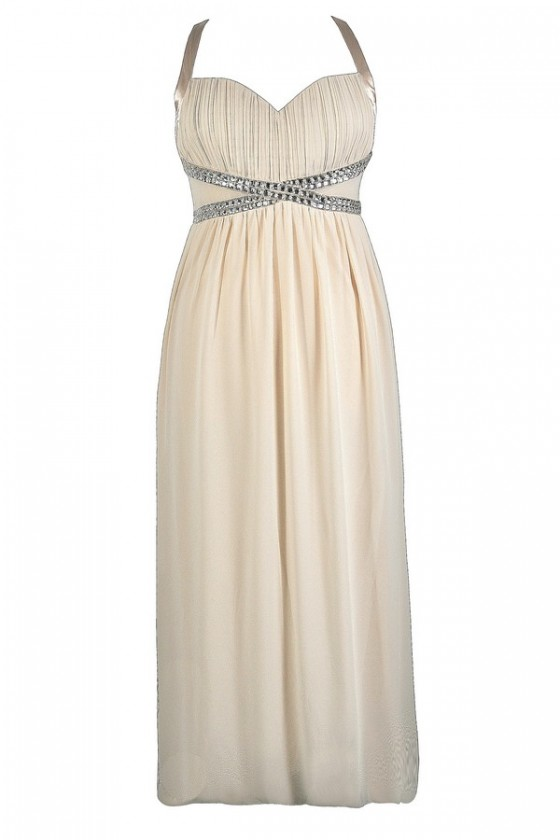 Bejeweled Rhinestone Chiffon Maxi Dress in Ivory- Plus Size