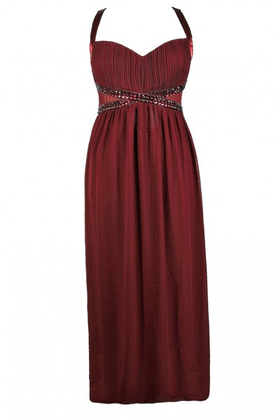 Bejeweled Rhinestone Chiffon Maxi Dress in Burgundy- Plus Size