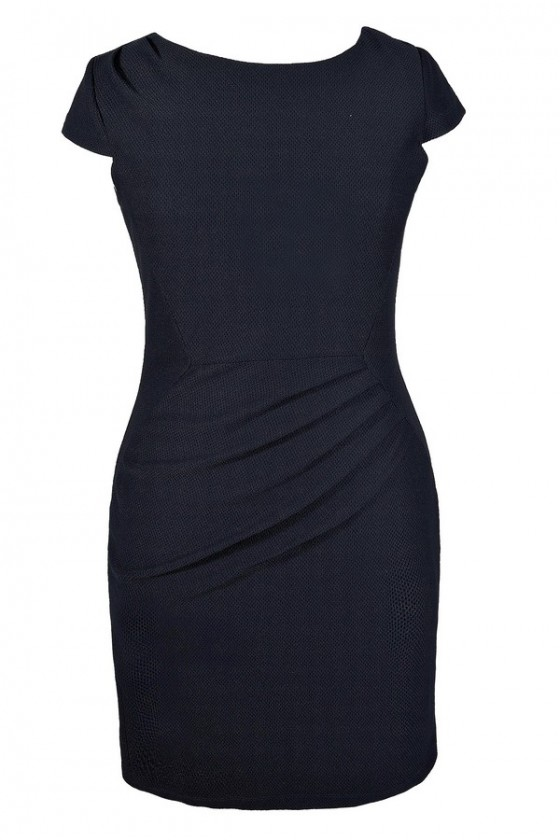 Textured Capsleeve Sheath Dress in Navy- Plus Size