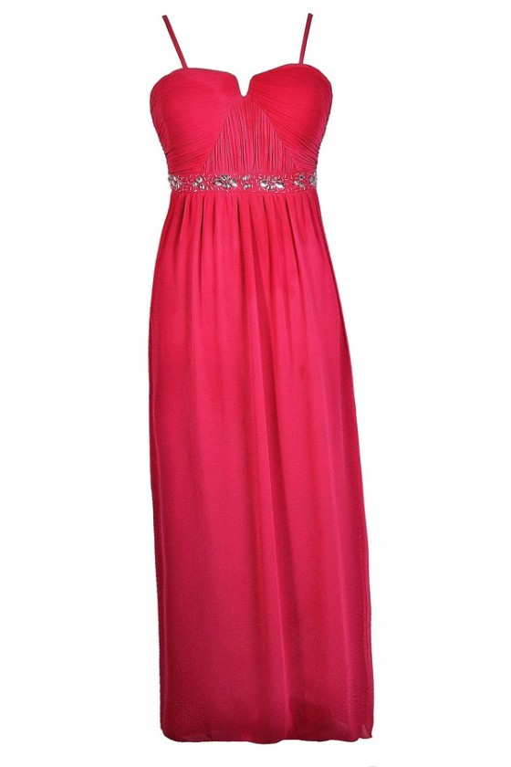 Rhinestone Rapture Embellished Maxi Dress in Hot Pink- Plus Size