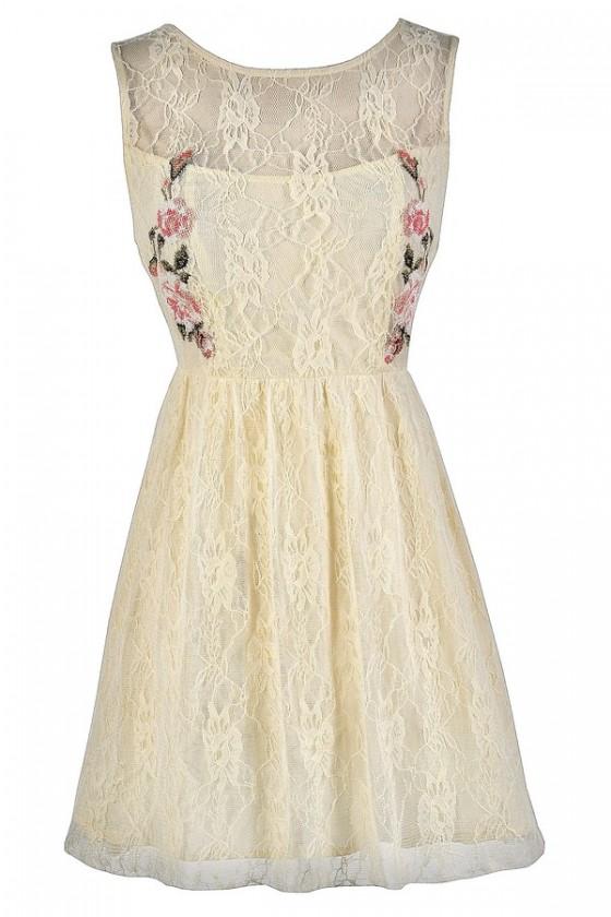 Cross Stitch My Heart Cream Lace Dress