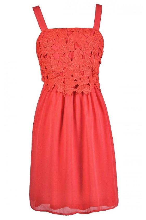 Cute Coral Dress, Coral Summer Dress