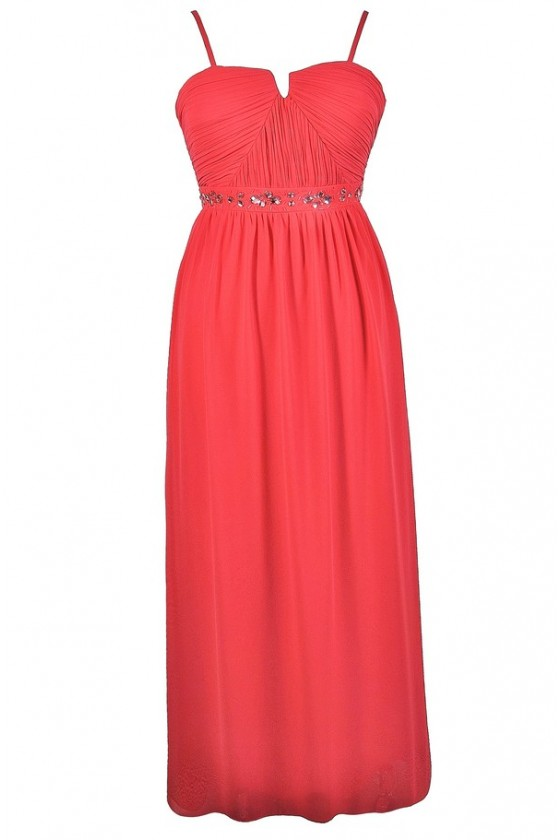 Rhinestone Rapture Embellished Maxi Dress in Coral- Plus Size