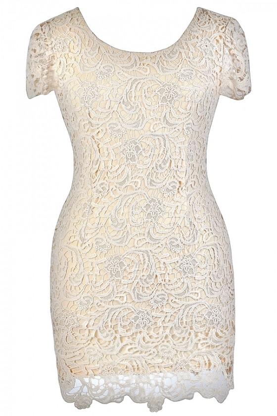 Emilia Lace Pencil Dress in Beige- Plus Size