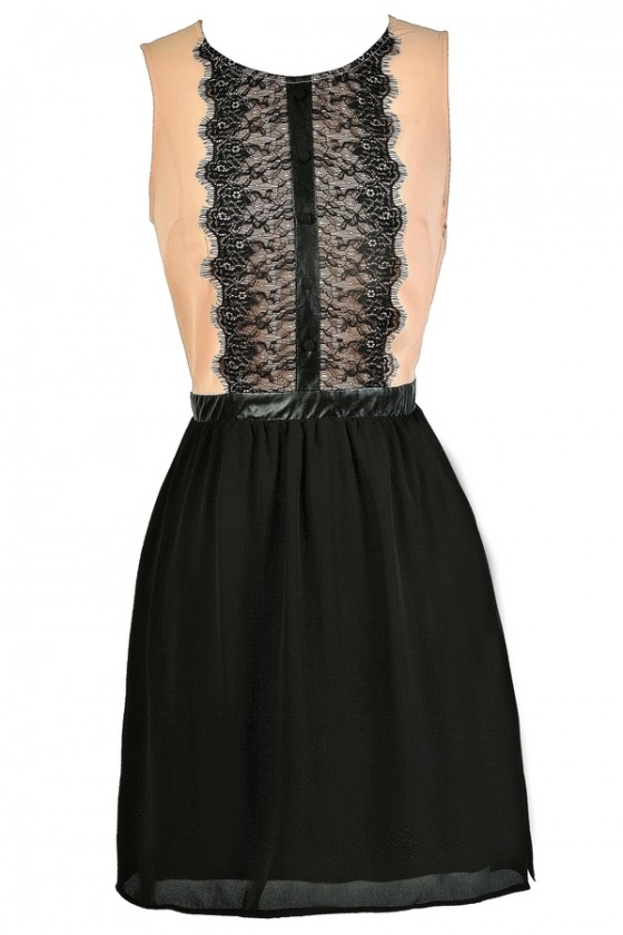 Tux Me In Contrast Lace Dress In Blush