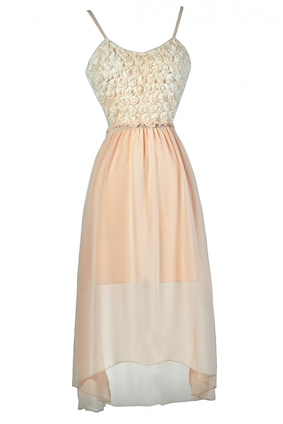 Moonlight And Rosettes Open Back High Low Dress In Blush