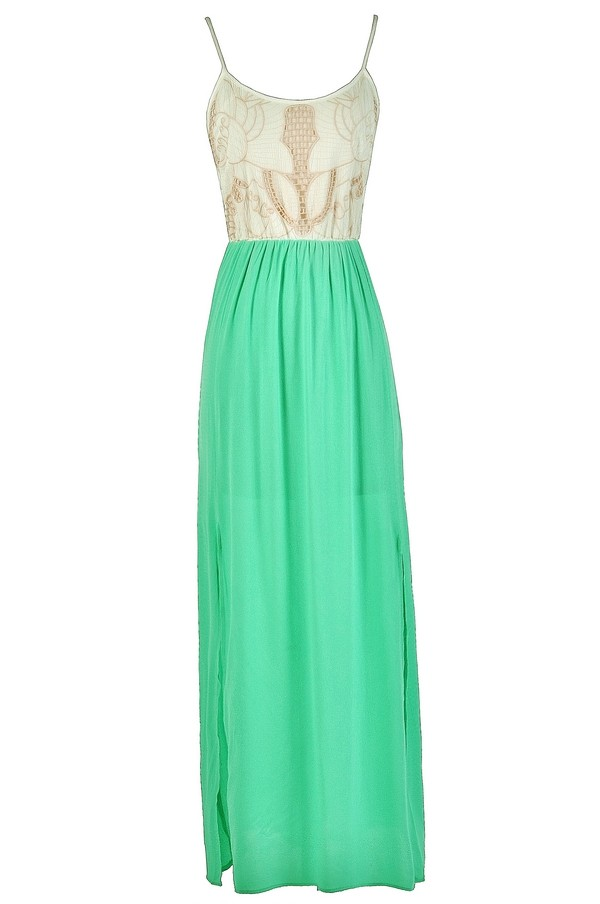 Green And Beige Embroidered Maxi Dress Cute Maxi Dress