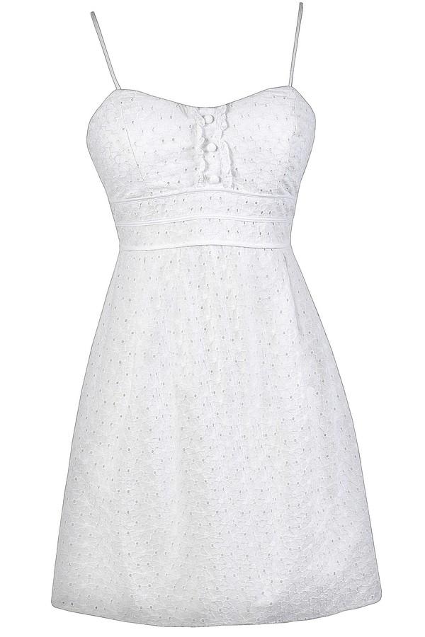 b9e450f3f0a6f White Eyelet Dress, Cute Eyelet Dress, White Summer Dress, Graduation Day  Dress, White Eyelet A-Line Dress, White Eyelet Sundress, White Eyelet Summer  Dress ...