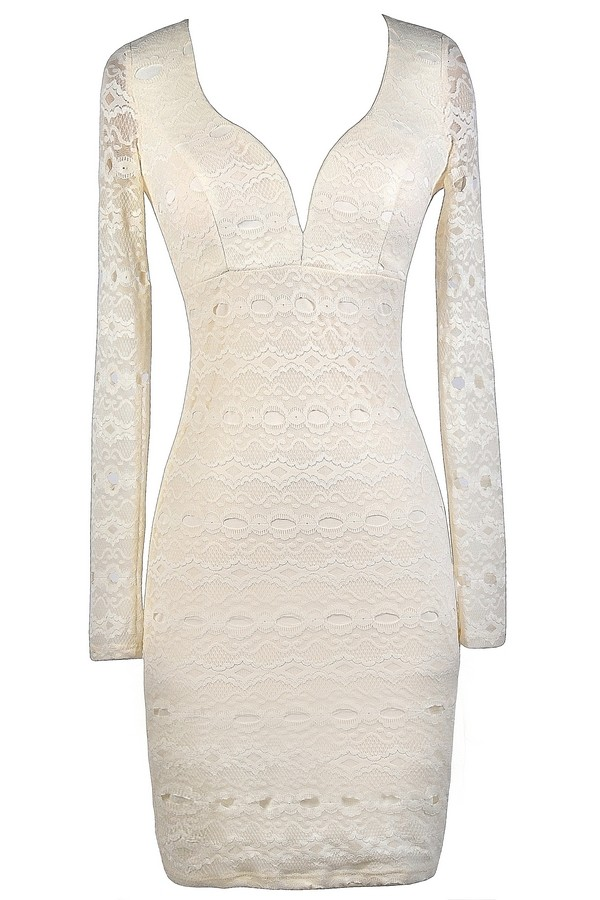 Ivory Lace Pencil Dress, Ivory Lace Bodycon Dress, Longsleeve Ivory ...