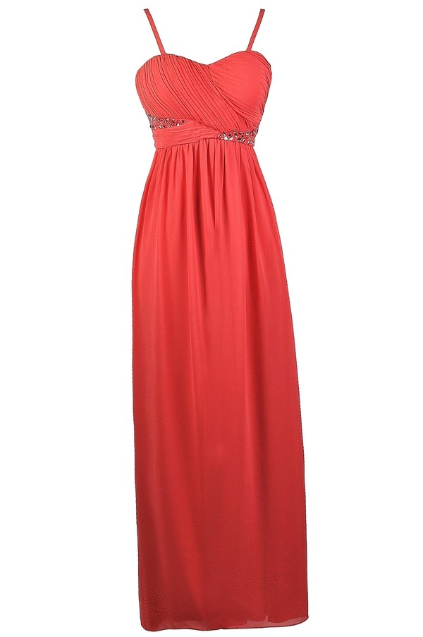 Coral Embellished Maxi Dress, Coral Prom Dress, Cute Coral Maxi ...