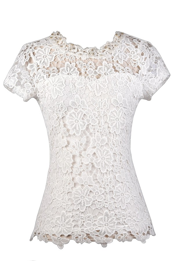 449388d7bfb067 Cute Off White Lace Top, Ivory Lace Top, Cute Summer Top, Cute Lace Top,  Capsleeve Lace Top, Pearl Lace Top Lily Boutique