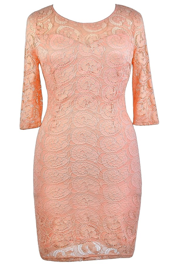 Half Sleeve Lace Dress in Peach- Plus Size