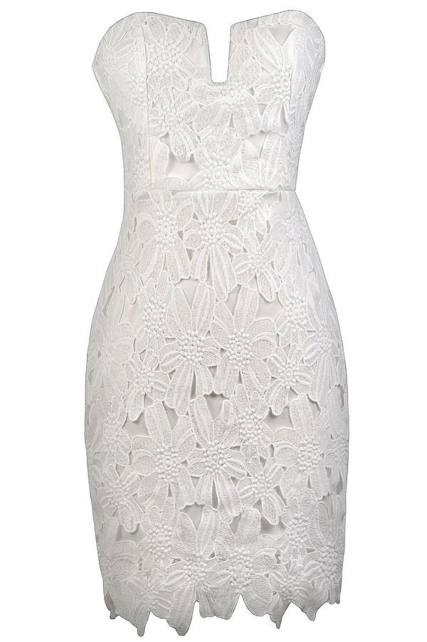 Lily Boutique White Strapless Crochet Lace Dress- White Lace ...