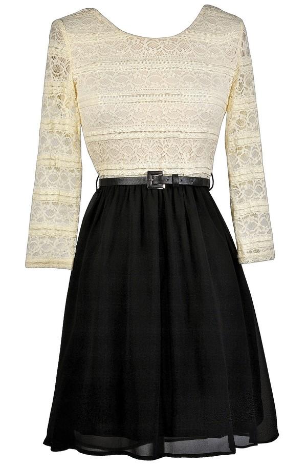 Black And Beige Living Room Decor: Black And Beige Lace A-Line Dress, Cute Black Dress, Black