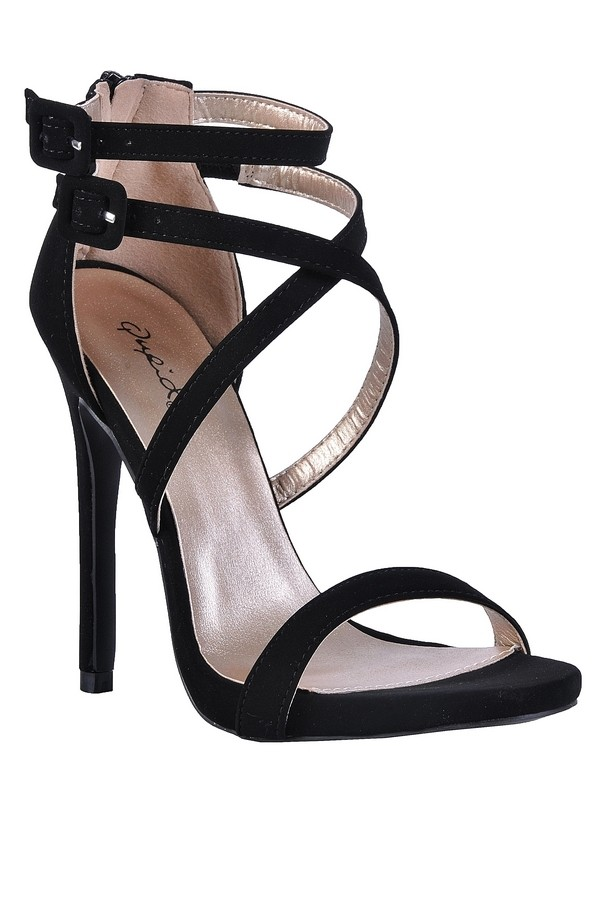 Lily Boutique Black Strappy Stiletto Heels, Cute Black Stilettos ...