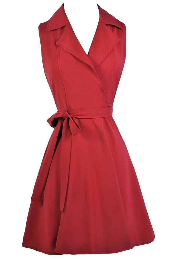 Red Shirt Wrap Dress, Cute Red Dress, Red Dress Boutique ...