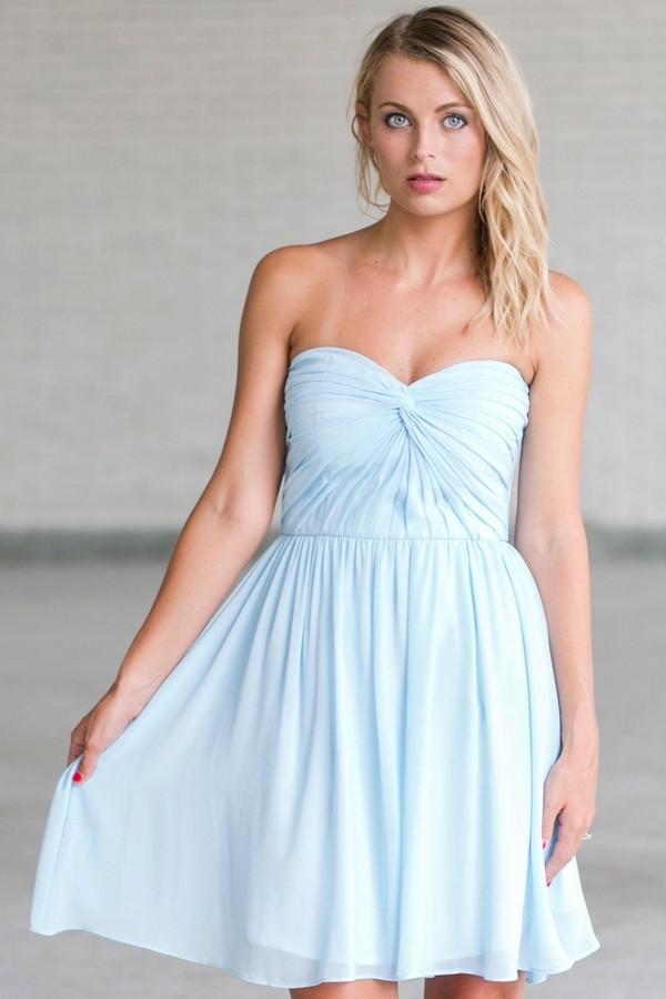 Sky Blue Bridesmaid Dress, Cute Baby Blue Strapless Bridesmaid Dress ...