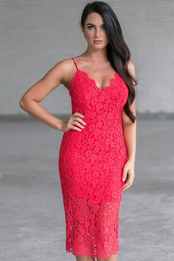 bfaa6b5a191 Red Lace Midi Dress