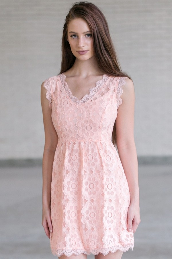 Pink Lace A-Line Dress, Cute Pink Dress Online, Pink Lace Bridesmaid ...