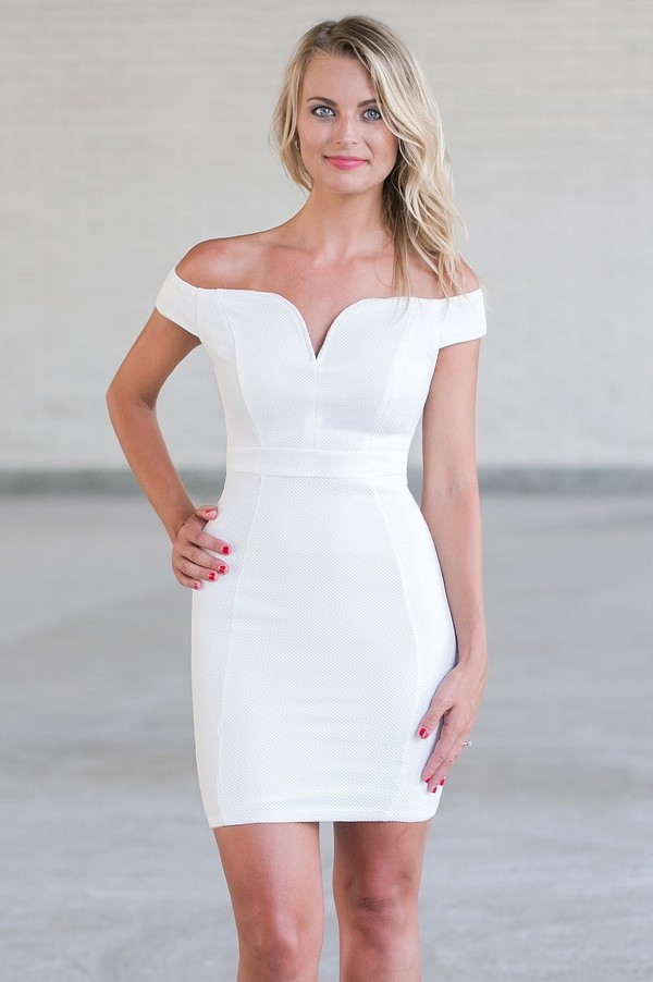 Off White Off Shoulder Bodycon Dress, Cute White Pencil Dress ...